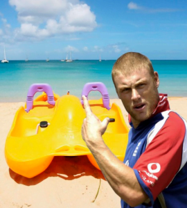 Blotto in a pedalo (Andrew Flintoff) - Sports Info Now