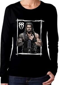 Roman Reigns Long-Sleeved T-Shirts Autumn and Winter Fashion Gifts Ladies Long-Sleeved Tops
